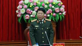 公安部副部長裴文南上將在會議上致詞。(圖源:春梅)