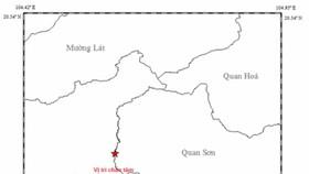 清化省關山縣發生里氏 3.8 級地震。圖中星號表示震中位置。(圖源:地球物理院)