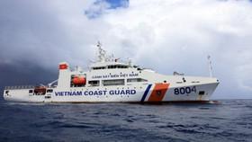 越中海警北部灣漁業聯合檢查。圖為我國8004號海警船。(圖源:藍江)