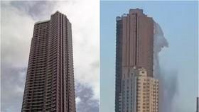 """位於馬尼拉唐人街的181米高豪宅""""Anchor Skysuites"""",在地震時不斷搖晃,天台泳池的池水搖至傾瀉而出、場面駭人。(圖源:互聯網)"""