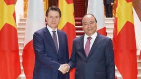 政府總理阮春福與意大利總理朱塞佩會談。(圖源:Chinhphu.vn)