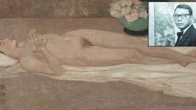 黎譜畫家(小圖)與成交價高達140萬美元的《裸體》作品。