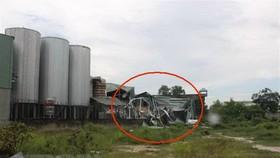 富美興有限責任公司啤酒廠的排水池發生爆炸,導致該廠的原料庫(畫紅圈處)全部倒塌。