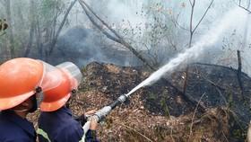 消防隊員在奮勇滅火。(圖源:黎忠)