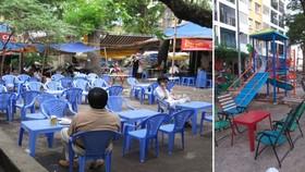 公寓的公共場地被各家飲料店佔用的情景。