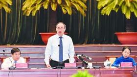 市委書記阮善仁(中)在會議上致閉幕詞。(圖源:互聯網)