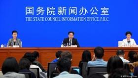 當地時間29日,中國港澳的最高執政單位香港和澳門事務辦公室罕見地在北京召開記者會。(圖源:AFP)
