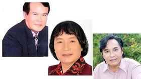 江州(左)、明王(中)及清俊等3位知名改良劇藝人獲建議頒授、追授人民藝人稱號。(圖源:互聯網)