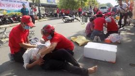應急救護演習現場一瞥。(圖源:峴港市紅十字會)