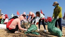 廣平省1000多名年輕人昨(15)日在同亥市日麗沙灘清理數噸垃圾。(圖源:國南)