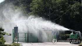 9月17日,江原道楊口郡南面一處養豬場周邊正進行消毒。當天韓國出現首例非洲豬瘟病例。(圖源:韓聯社)