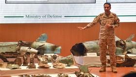 沙特國防部展示巡航導彈及無人機殘骸。
