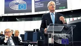 9月18日,英國脫歐事務談判的首席代表巴尼爾在位於法國斯特拉斯堡的歐洲議會上發言。 (圖源:AFP)