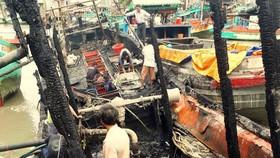 Ba tàu cá của ngư dân Kiên Giang bị cháy rụi