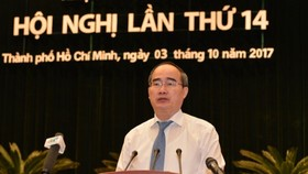 HCMC Party Secretary Nguyen Thien Nhan  delivers a speech to open the conference on October 3 (Photo: SGGP)