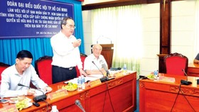 Secretary Nguyen Thien Nhan states at the meeting (Photo: SGGP)