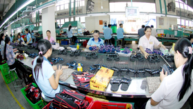 Workers making footwear products for export (Photo: SGGP)