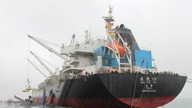 A ship docks at Viet-Lao Vung Ang Vietnam-Laos Port (Photo: SGGP)