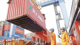 Export goods are loaded aboard at Cat Lai seaport (Photo: SGGP)