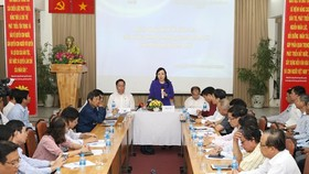 Health Minister Nguyen Thi Kim Tien (standing) speaks at the working session with HCM City's Health Department (Photo: VNA)