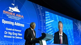 Minister of Defence Ng Eng Hen delivers the opening address at the International Maritime Defence Exhibition & Conference (IMDEX) Asia 2019. (Source: www.mindef.gov.sg)