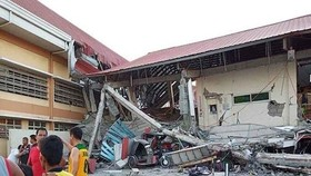 Buildings are demaged at the 5.8-magnitude shallow quake in the northeast coast of Mindanao island. (Photo: The Pioneer)