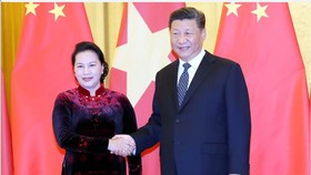 NA Chairwoman Nguyen Thi Kim Ngan (left) meets with Chinese Party General Secretary and President Xi Jinping (Source: VNA)