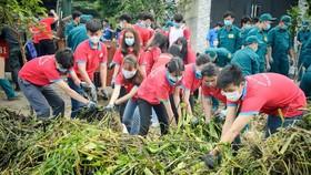 Đoàn viên, thanh niên TPHCM ra quân dọn vệ sinh  tuyến rạch Bà Cả trong ngày Chủ nhật xanh. Ảnh: THÁI PHƯƠNG