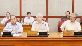 Tổng Bí thư, Chủ tịch nước Nguyễn Phú Trọng phát biểu chỉ đạo cuộc họp.  Ảnh: TTXVN