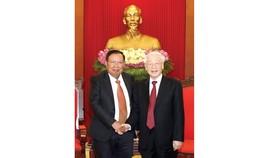 Tổng Bí thư, Chủ tịch nước Nguyễn Phú Trọng tiếp  Tổng Bí thư, Chủ tịch nước Lào Bounnhang Vorachith. Ảnh: TTXVN