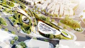 Phối cảnh tổng thể khu C Công viên 23-9, phương án đạt giải nhì của Công ty TNHH Kiến trúc Lava