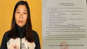 Đối tượng Trần Thị Xuân và thông báo về việc bắt khẩn cấp của Công an Hà Tĩnh (Ảnh: Công an Hà Tĩnh)