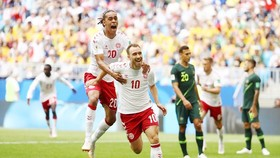 Eriksenn ghi bàn mở tỉ số. Ảnh FIFA.
