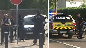 Cảnh sát phong tỏa hiện trường vụ tấn công ở Trappes, ngoại ô Paris, Pháp, ngày 23-8-2018. TWITTER