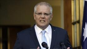 Thủ tướng Australia Scott Morrison phát biểu tại cuộc họp báo ở Canberra. Ảnh: TTXVN