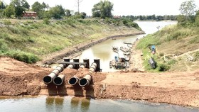 Mực nước giảm mạnh tại một hồ chứa ở Đông Bắc Thái Lan                                                                       Ảnh: Chiangrai Times