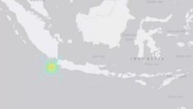 Tâm chấn nằm ở độ sâu 10km dưới lòng đất ngoài khơi phía Nam cách tỉnh Banten, đảo Java của Indonesia 150km. Đồ họa: USGS