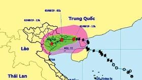 Bản đồ đường đi của bão số 3