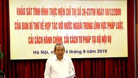 Phó Thủ tướng Thường trực Trương Hòa Bình phát biểu tại buổi làm việc