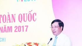 Ủy viên Bộ Chính trị, Phó Thủ tướng Chính phủ, Bộ trưởng Bộ Ngoại giao Phạm Bình Minh đánh giá cao vai trò, uy tín của Giải thưởng toàn quốc về thông tin đối ngoại.  Ảnh: INFONET
