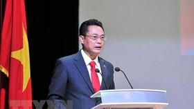Đại sứ Việt Nam tại Cuba Nguyễn Trung Thành phát biểu tại Lễ kỷ niệm. (Ảnh: TTXVN)