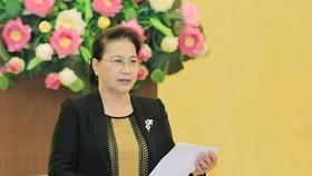 Chủ tịch Quốc hội Nguyễn Thị Kim Ngân phát biểu tại Hội nghị liên tịch thường niên phối hợp công tác giữa Ủy ban Thường vụ Quốc hội và Đoàn Chủ tịch Ủy ban Trung ương MTTQ Việt Nam. Ảnh: quochoi