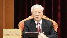 Tổng Bí thư, Chủ tịch nước Nguyễn Phú Trọng phát biểu bế mạc Hội nghị Trung ương 10. Ảnh: TTXVN