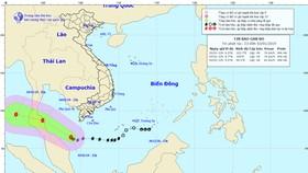 Vị trí và đường đi của bão số 1 lúc 23h ngày 3-1. Ảnh: TTDBKTTVTƯ