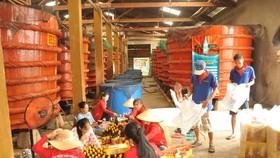Sản xuất nước mắm truyền thống tại một cơ sở ở Phú Quốc