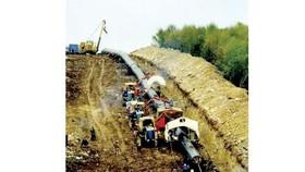 Một đoạn đường ống vận chuyển khí dọc hành lang xuyên Balkan
