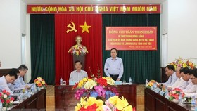 Ông Trần Thanh Mẫn phát biểu tại buổi làm việc với Ủy ban Mặt trận Tổ quốc Việt Nam tỉnh Phú Yên. Ảnh: Thế Lập/TTXVN
