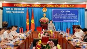 Toàn cảnh hội thảo góp ý dự án Luật sửa đổi, bổ sung một số điều của Luật Tổ chức Chính phủ và Luật Tổ chức Chính quyền địa phương. Ảnh: hcmcpv