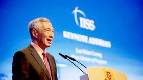 Thủ tướng Singapore Lý Hiển Long phát biểu trong phiên khai mạc SLD lần thứ 18, tối 31-5