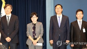 (From left) Cho Kuk, Cho Hyun-ock, Yoon Young-chan and Lee Joung-do stand before reporters at Cheong Wa Dae in Seoul on May 11, 2017. (Yonhap)